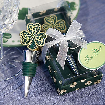 Shamrock and Trinity Love Knot Bottle Stoppers Green St Patricks Day Favour D07