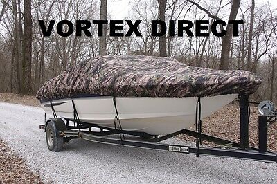 New Vortex Camo Combo Pack Heavy Duty 27 - 28' Boat Cover + Support System