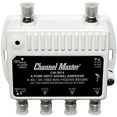 Channel Master CM-3414 4-Port Distribution Amplifier for Cable and Antenna Si...