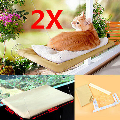 2x Comfortable Cat Window Mounted Bed Seat Pet Sunny Hammock Wall Cover Washable
