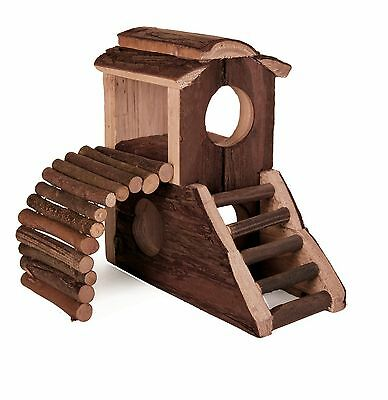 Mats House 2 Storey Wooden Hut with Ramp & Steps for Gerbils Mice Hamsters
