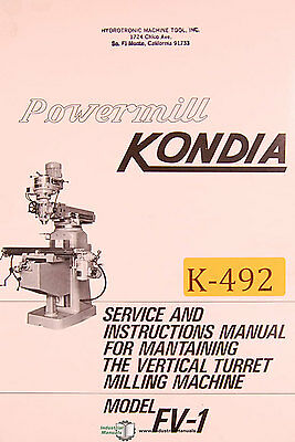 Kondia FV-1, Powermill Milling Service and Parts Manual