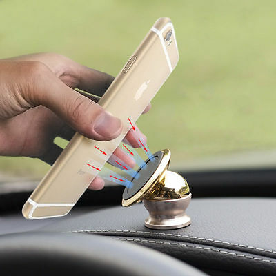 360 Powerful Multifunction Magnetic Car Mount Holder GPS Stand Gold for Phone