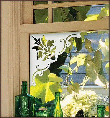 4 White Fleur de Lis Frosted Corners Etched Glass Window Film Adhesive-Free