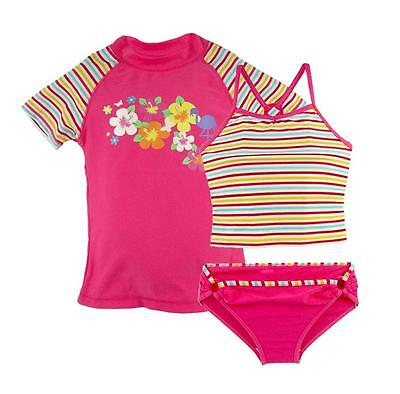 3PCS Girls Kid Swimsuit Rainbow Striped Rash Guard Sling Swimwear Beachwear 4-8Y