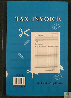 TAX INVOICE BOOK 50 Page Duplicate Statement Carbonless Quote New