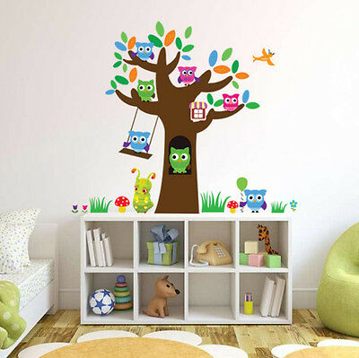 Owl tree Cartoon Removable Wall Stickers For Kids Rooms Decor YXH4