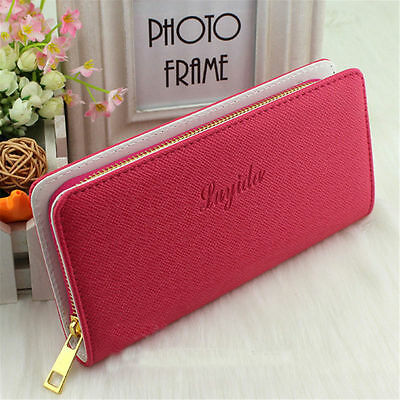 New Fashion Lady Women Leather Zip Clutch Wallet Long Card Holder Purse US STOCK