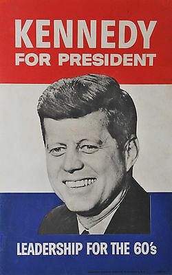 KENNEDY FOR PRESIDENT 1960 ORIGINAL political campaign poster colour litho JFK