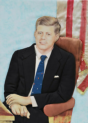 JOHN F KENNEDY 1960s Handmande Applique craft wall hanging. One-off RARE