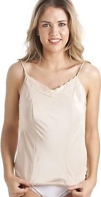 Camille Womens Ladies Lingerie Luxury Beige Lace Trim Camisole Vest Top