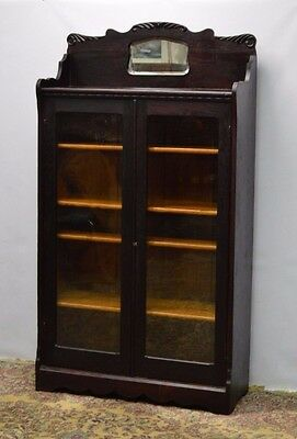 Antique Solid Oak Two 2 Door Bookcase w. Mirror & key