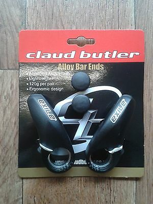 Claud Butler Ergonomic Alloy Bicycle Bar Ends & Bar Plugs  - Black - RRP£18