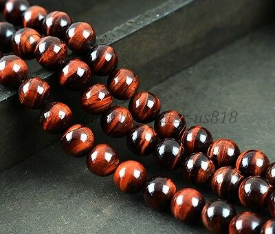 "Natural Red Tigers Eye Gemstone Round Beads 15.5"" 4MM 6MM 8MM 10MM 12MM 14MM"