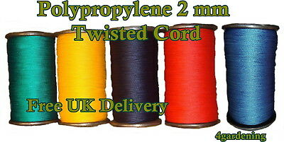 Fibre Poly Rope Polypropylene PP 2 mm Twisted Cord Line Tie String Thread Yarn