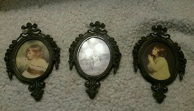 Lot of 3 vintage ornate brass picture frames made in Italy
