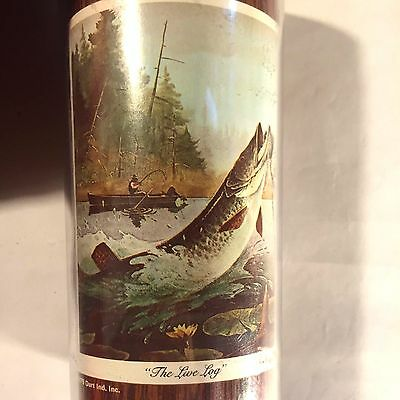 """Vtg Thermo-Serv Woodgrain Cup Fly Fishing """"The Live Log"""" Bass Trout Fish Boat"""