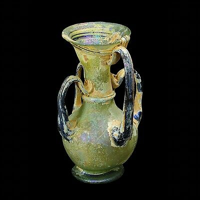 Aphrodite- Ancient Roman Translucent Green Glass Flask With Four Handles