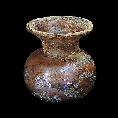Aphrodite- Ancient Roman Glass  Jar With Aubergine Color