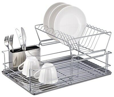 """Home Basics NEW 2-Tier 3 Piece 18.75"""" x 9"""" Silver Steel Dish Drainer - DR30245"""