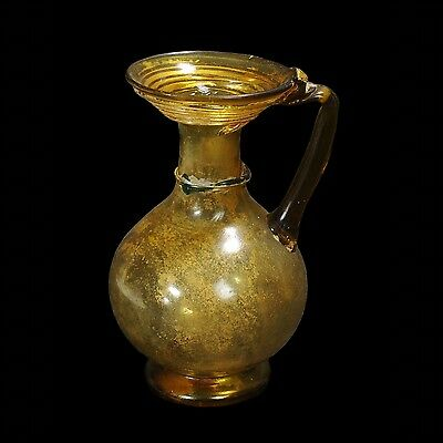 Ancient Roman Glass  Jug In Brown