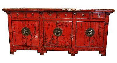 Vintage Antique Red Asian Chinese Elm Credenza Cabinet Glazed Shiny Brass