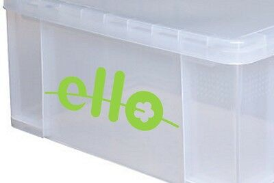 4x small ELLO Logo Vinyl Stickers Decals for storage box boxes & containers