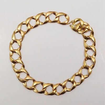 10k Yellow Gold Curb Link Chain Bracelet, Length 8.5 Inches