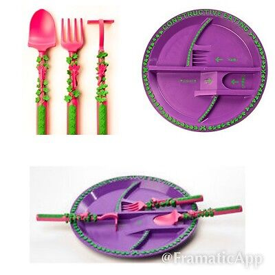 "Constructive Eating ""Fairy garden"" eating Plate  and Cutlery Set"