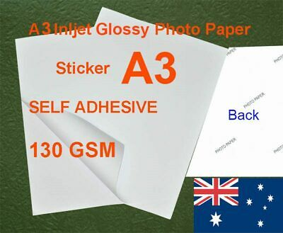 150 sheets A3 150GSM Inkjet Glossy Photo Paper Sticker Adhesive