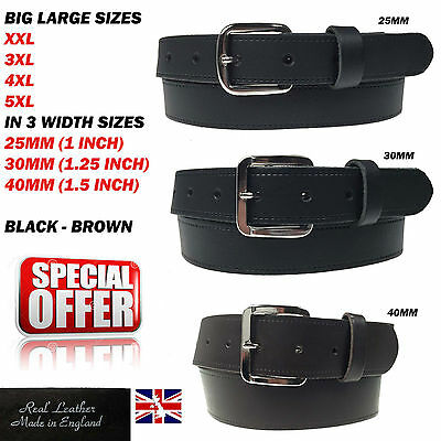 Mens Big Sizes XXL To 5XL Strong Tough Jeans Wear Real Leather Belt In 3 Widths