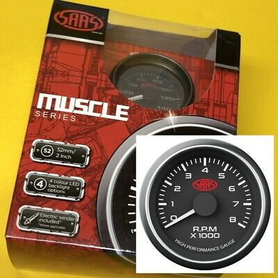 TACHOMETER Gauge 52 mm 0-8000 RPM Multi colour display SAAS Black Tacho Revs