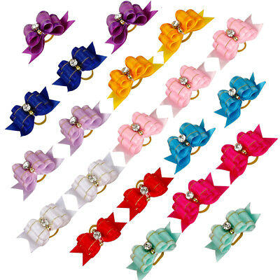20/40/60/500pcs Rubber Bands Ribbon Puppy Bows Dog Hair Bow Grooming Accessories