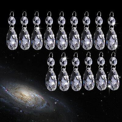 15pcs Clear Glass Crystal Chandelier Lamp Part Drops Prisms Hanging Pendant 38mm