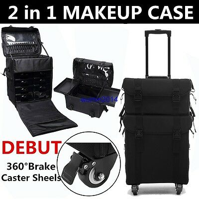 2 in 1 Makeup Nail Trolley Make Up Soft Cosmetic Case Portable Artist Oraganizer