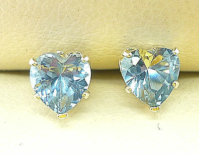AQUAMARINE 925 STERLING SILVER STUD EARRINGS  HEART 5MM CREATED STONE  sk1040