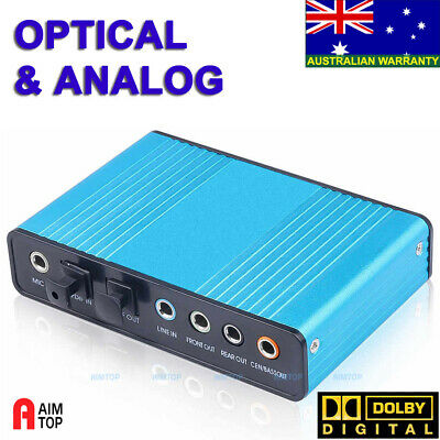 USB Optical Sound Card 7.1 / 5.1 Channels SPDIF DOLBY DAC Audio for PC Laptop