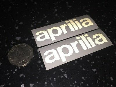 2x APRILIA Reflective silver SAFETY Motorcycle Helmet Stickers Hi Viz graphic