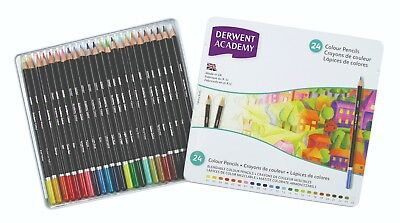 Derwent Academy Colour Pencils 24 Tin - Assorted Art Blendable Colouring