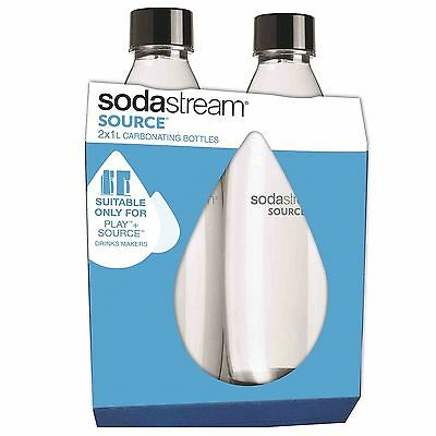 New SodaStream Twinpack Fuse Carbonating BPA Free Bottles + Black Screw Cap - 1L