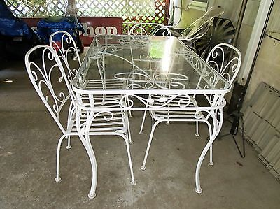Salterini Vintage Wrought Iron Patio Dining Set Table 4 Chairs w/ cushions