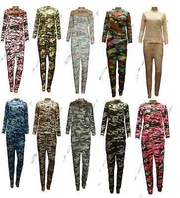 New Girls Kids Camouflage Grey Tracksuit Set Sweatshirt & Leggings Age 2-13