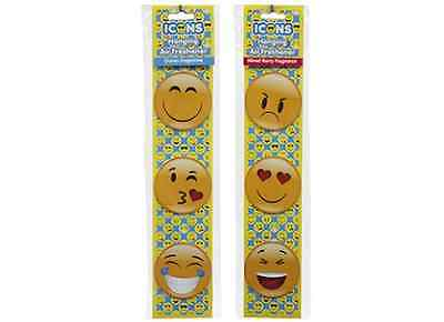Pack Of 3 Assorted Emoji Smell Car Air Freshener And Hanging String Ocean Berry