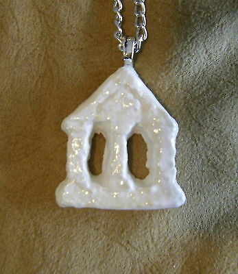 White Temple Necklace, pendant, clay, painted silver triangle building handmade
