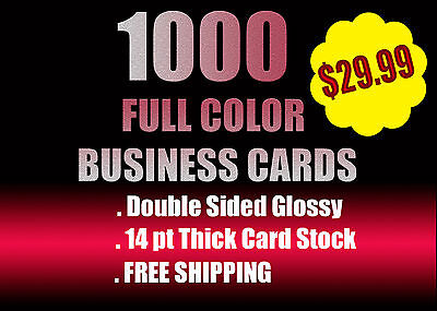 1000 Full Color Business Cards W/ Your Artwork Ready To Print In 24 Hrs