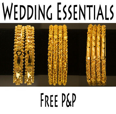 24ct Gold Plated Bangle Sets Indian African Party Wear No Colour Change 6 Months