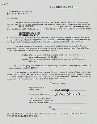 Joan Bennett Signed Typed Contract March 21, 1968 Personality Company Stationery