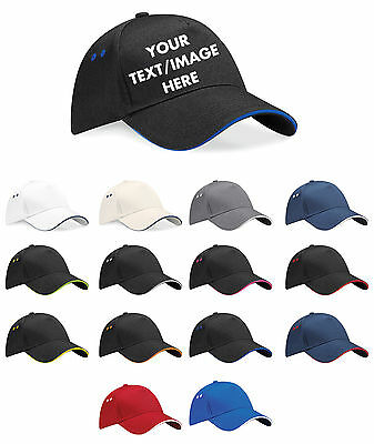 Personalised Embroidered Baseball Cap Contrast Custom Printed Hat Mens Ladies