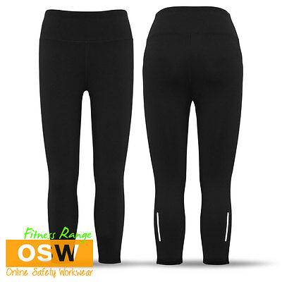 Ladies Black 4-Way Stretch Flex Fabric 3/4 Leggings - Sports/Gym/Excercise/Team