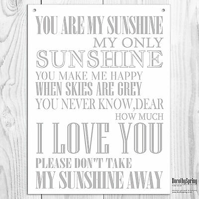 You Are My Sunshine Grey High Quality Metal Sign Tin Cute  Retro Plaque 20X15cm